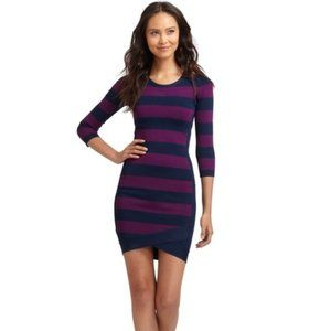 BcbgMaxAzria Kendall Purple Blue Striped Dress S M